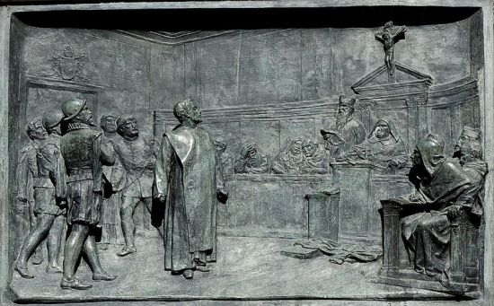 The Trial of Giordano Bruno (bronze bas relief), obtained via Wikipedia