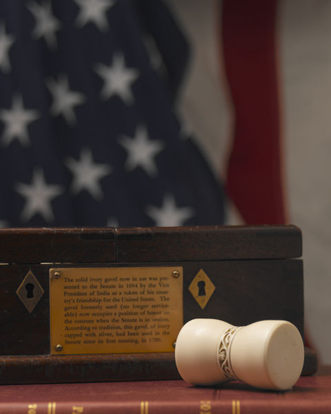 The gavel of the United States Senate, used by the presiding officer (Vice President or President Pro Tempore, usually). This gavel dates from 1954, and was a gift from India. It replaced a nearly identical earlier version which had been in use since at least 1831 and maybe 1789, but which had come apart earlier in 1954.