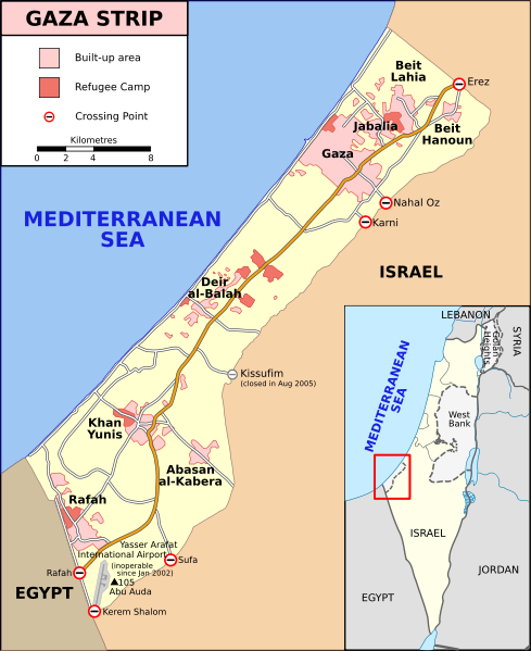 Map of Gaza Strip, Stand December 2008 (SVG version of File:Gaza Strip map.png by Lencer, adapted by Gringer)