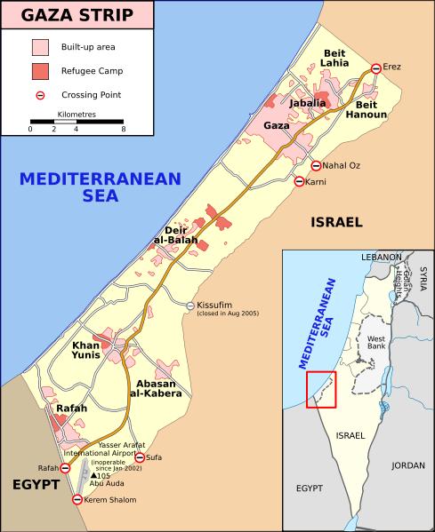 Map of Gaza Strip, Stand December 2008 (SVG version of File:Gaza Strip map.png by Lencer, adapted by Gringer)