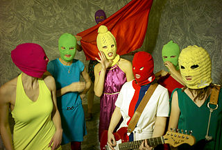 The rock group  performance artists Pussy Riot, photographed 11 January 2012 by Igor Mukhin