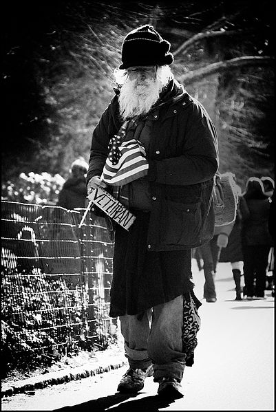 Homeless veteran in New York, 13 December 2008, http://www.flickr.com/photos/josjos/3105382896/in/photostream/, by JMSuarez.