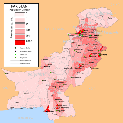 Population density in Pakistan.  Figure created by nomi887 .