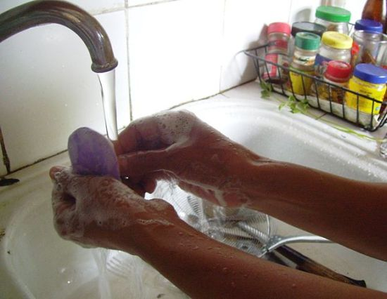 Washing hands with soap, photographed 7 September 2008 by Serenity.