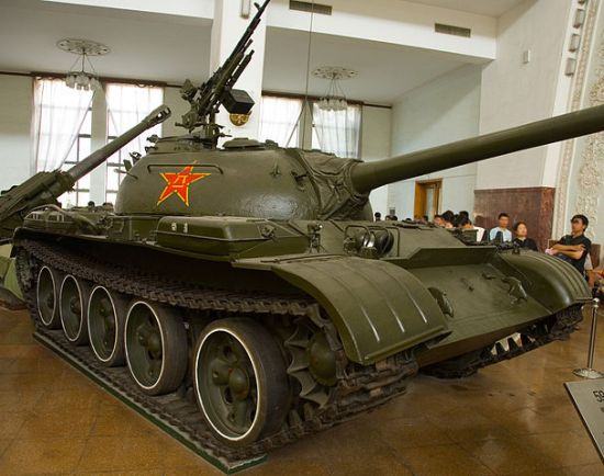 A Chinese Type 59 tank at the Beijing Military Museum. A Type 59 main battle tank on display at the Military Museum of the Chinese People's Revolution in western Beijing. On June 3, 1989, People's Liberation Army soldiers on Type 59 tanks began firing on civilian demonstrators at Muxidi near the military museum. (Wikipedia) Photo by Max Smith.