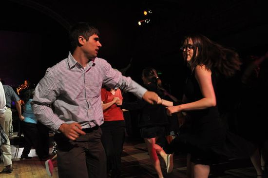 Picture taken at at Masters of Lindy Hop and Tap, Century Ballroom, Oddfellows Temple, Pine Street, Capitol Hill, Seattle, Washington, USA. At the tail end of the Friday night Masters' Exhibition, there was a general invitation to the audience to come up and dance. This picture was taken during that period. Photo by Joe Mabel/Century Ballroom, 14 August 2009.