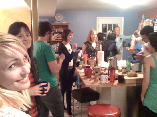 Photo by Dennis Crowley. Here is a kitchen view during Wednesday night's green tea party, 30 May 2008, 10:07:15, Author: Nick Gray