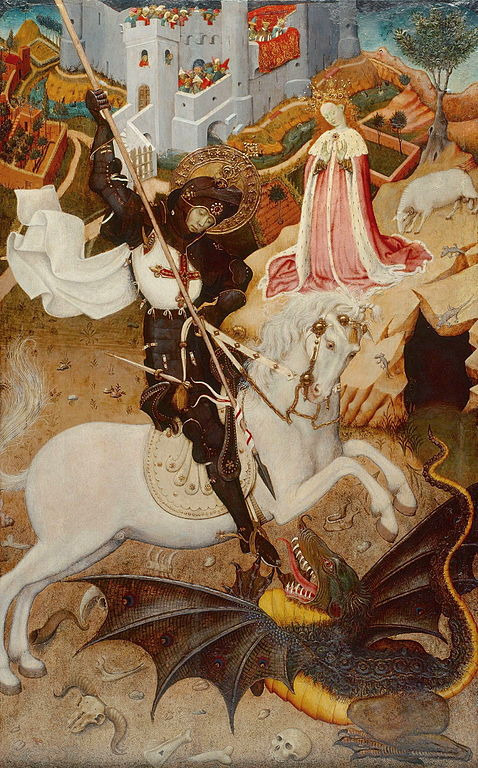 Saint George and the Dragon, painted by Bernat Martorell (1390–1452). AA.VV.,El llibre d'or de l'art català, Edicions Primera Plana, Barcelona, 1997.