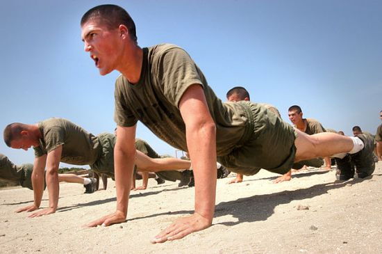 Marine recruits do push-ups, May 18, 2005, San Diego. Photographed by PFC Charlie Chavez.
