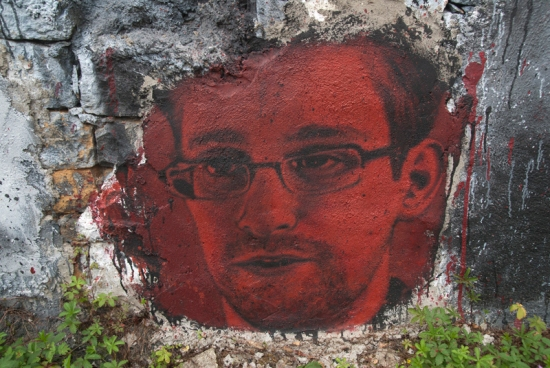 "USA technical contractor Edward Snowden, grafitti by Thierry Ehrmann in the ""Abode of Chaos"" museum of contemporary art, in Saint-Romain-au-Mont-d'Or, Rhône-Alpes region, France."