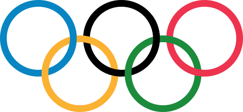 "Olympic Rings without ""rims"" (gaps between the rings), as used, eg. in the logos of the 2008 and 2016 Olympics. The colour scheme applied here pertains to the 2016 Olympics in Rio de Janeiro.  The original design was by Pierre de Coubertin (1863-1937). This image is due to O Alexander, 4 January 2011."