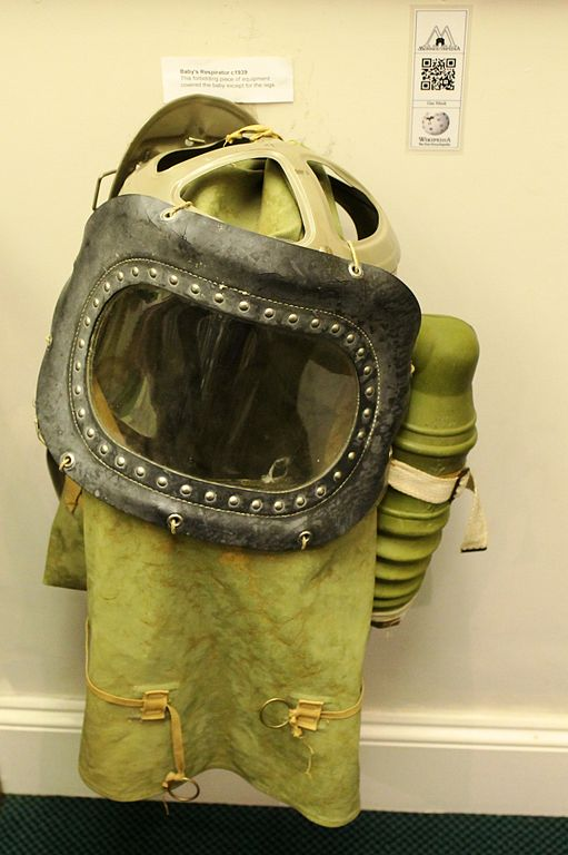 A 1939 Second World War-era baby's gas mask in Monmouth Regimental Museum. This design covered the whole of the baby except for its legs. (The caption was obtained from http://en.wikipedia.org/wiki/Gas_mask).  Photo taken by Rock Drum on 19 May 2012, at the Monmouth Regimental Museum.