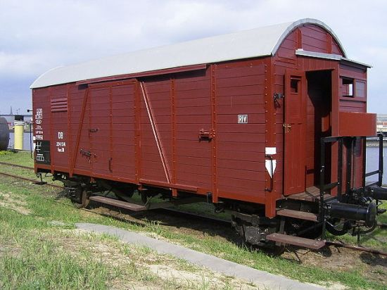 "A Deutsche Reichsbahn ""Güterwagen"" (goods wagon), one type of rail car used for deportations (Wikipedia's caption, in http://en.wikipedia.org/wiki/Auschwitz). Photo by Claus-Joachim Dickow, 1 October 2006."