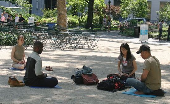 Meditating in Madison Square Park, Manhattan, New York City, photographed 22 June 2010 by Beyond My Ken .