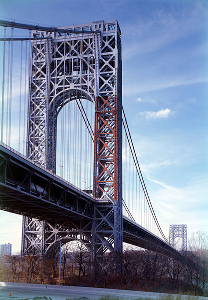 """The George Washington Bridge, connecting Fort Lee to New York City, is the world's busiest motor vehicle bridge."" (Wikipedia) Photo by Jet Lowe, April 1986."