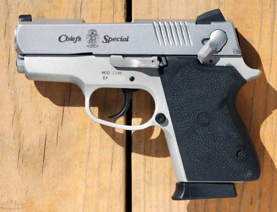 2007 photo copyrighted by Jeff Dean, and uploaded by hime to Wikipedia, which describes it as a compact semi-automatic Smith & Wesson .45 ACP Chief's Special — Model CS45.
