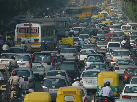 A traffic jam in Delhi, India, taken by NOMAD.  It is a different traffic jam, but it gives you the flavor.