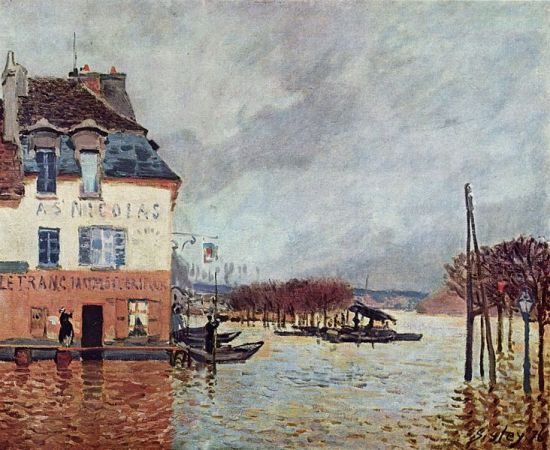 Alfred Sisley, The innondation at Port Marly, painted 1876. Presently in le Musée des beaux-arts de Rouen.