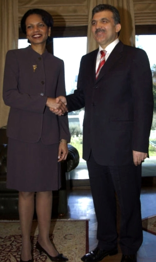 'Former US Secretary of State Condoleezza Rice and Turkish President Abdullah Gül.