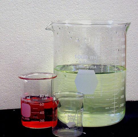 Glass beakers for chemistry.