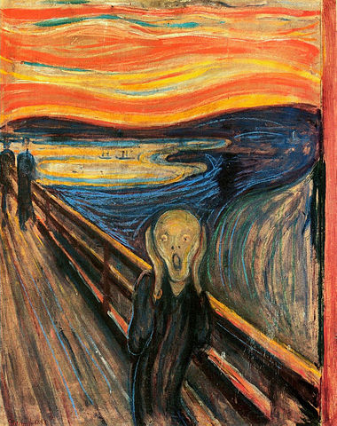 "One of several versions of the painting ""The Scream"" (title: Der Schrei der Natur, 'The Scream of Nature') . The National Gallery, Oslo, Norway. (This is the caption in http://en.wikipedia.org/wiki/The_Scream .)  ""The Scream"" by Edvard Munch (1863–1944) - WebMuseum at ibiblioPage: http://www.ibiblio.org/wm/paint/auth/munch/Image URL: http://www.ibiblio.org/wm/paint/auth/munch/munch.scream.jpg. Via Wikipedia - http://en.wikipedia.org/wiki/File:The_Scream.jpg#mediaviewer/File:The_Scream.jpg"