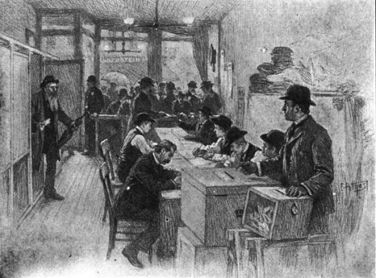"""1900 New York polling place"" by E. Benjamin Andrews - Andrews, E. Benjamin. History of the United States, volume V. Charles Scribner's Sons, New York. 1912. Licensed under Public domain via Wikimedia Commons - http://commons.wikimedia.org/wiki/File:1900_New_York_polling_place.jpg#mediaviewer/File:1900_New_York_polling_place.jpg"