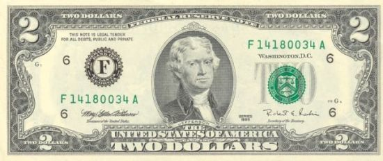 "A US two dollar bill. http://en.wikipedia.org/wiki/Dollar ""US $2 obverse"". Licensed under Public domain via Wikimedia Commons - http://commons.wikimedia.org/wiki/File:US_$2_obverse.jpg#mediaviewer/File:US_$2_obverse.jpg"