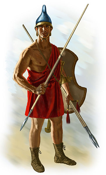 Agrianian peltast. He holds three javelins, one in his throwing hand and two in his pelte hand as additional ammunition. Agrianian Peltast by Johnny Shumate For more information about illustrations, email shumate_j@bellsouth.net