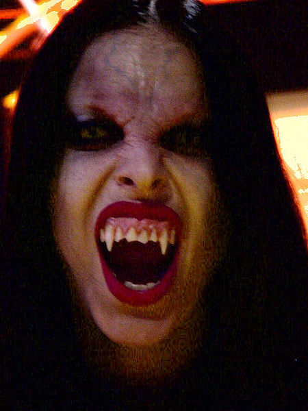 Female disguised as a Vampire, taken at E3 Trade show, 12 May 2000, by Carniphage.