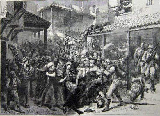 Battle for Sarajevo in 1878, as depicted by G. Durand (1800-1899) in The Graphic (a London newspaper).