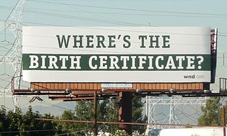 Billboard challenging the validity of Barack Obama's birth certificate. The billboard is located in South Gate, and photo was taken on November 12, 2010.