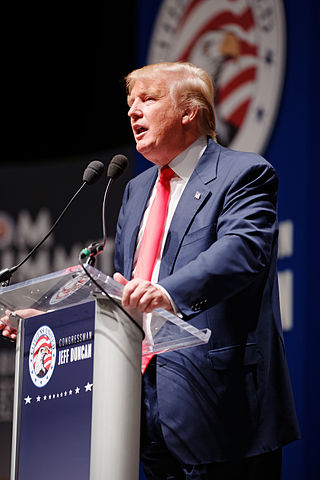 Trump Sr. at Citizens United Freedom Summit in Greenville South Carolina May 2015, photo by Michael Vadon.