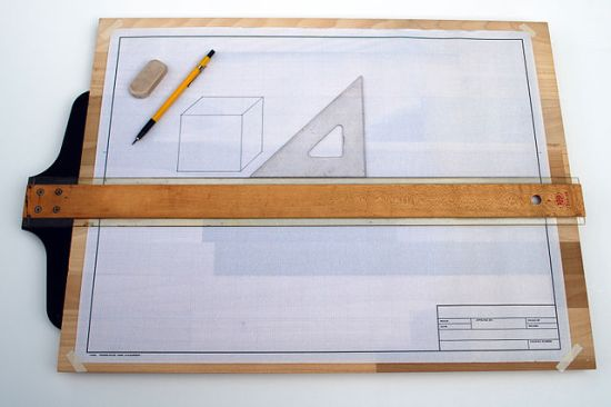 A drafting board with a T-Square and triangle. Photo by Michael Holley, October 24, 2012.