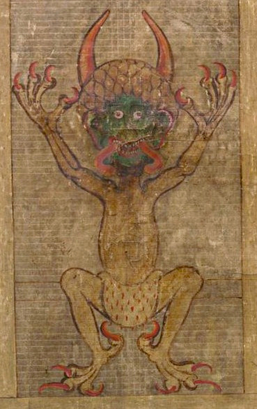 Illustration of the Devil in the Codex Gigas, folio 270 recto, early 13th century, by Herman the Recluse of the Benedictine monastery of Podlažice.