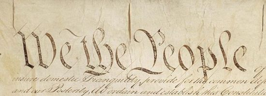 Detail of the Preamble to the Constitution of the United States, retouched by Bluszczokrzew .