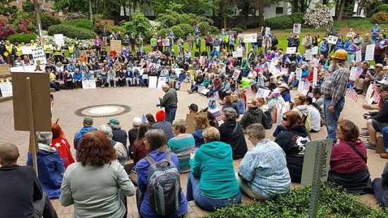 The March for Truth on June 3, 2017, in Portland, Oregon, which was one of its many cities.  Photographed by 'Another Believer'.