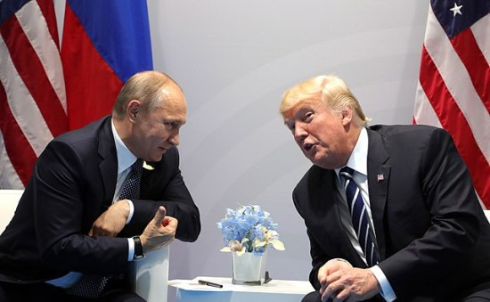 Vladimir Putin and Donald Trump meet at the 2017 G-20 Hamburg Summit.  Photo by www.kremlin.ru.