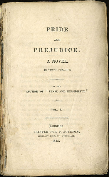 Title page from the first edition of the first volume of Pride and Prejudice, 1813. Lilly Library, Indiana University..